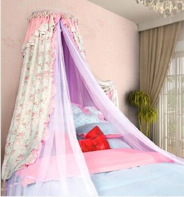 Queen Size Pink Ceiling Mosquito Net Bedding Bed Curtain Netting Canopy *