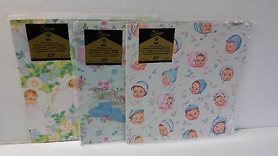 Lot of 3 Vintage Gibson Baby Gift Wrap Shower Wrapping Paper Retro Booties