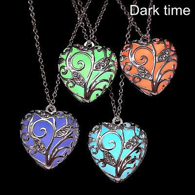 New Magical Fairy Glow in the Dark Locket Hollow Heart Luminous Necklace Pendant