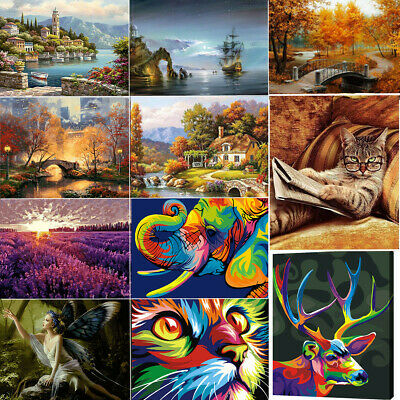 Animal Scenery Acrylic Paint By Number Kit Abstract Oil Painting DIY Wall Decor