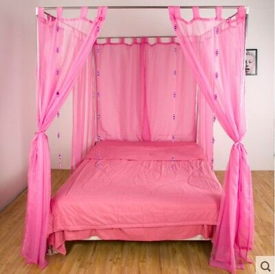 Single Pink Yarn Mosquito Net Bedding Four-Post Bed Canopy Curtain Netting *