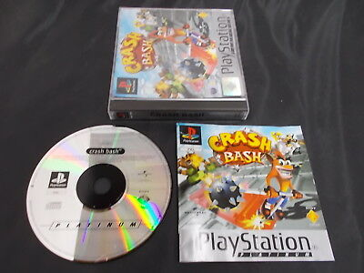 PS1 Playstation 1 Pal PLATINUM Game CRASH BASH with Box Instructions