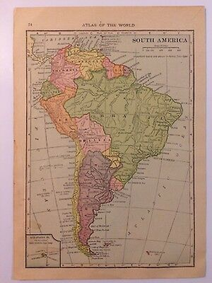 Antique Map of South America 1912 - Old Atlas World Map Vintage