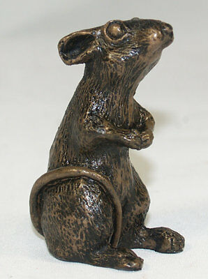 Mouse Sitting (small) - Cold Cast Bronze Sculpture by John Rattenbury