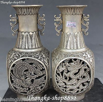 "8"" Marked Chinese Silver Dragon Phoenix Flower Vase Bottle Vases Statue Pair"