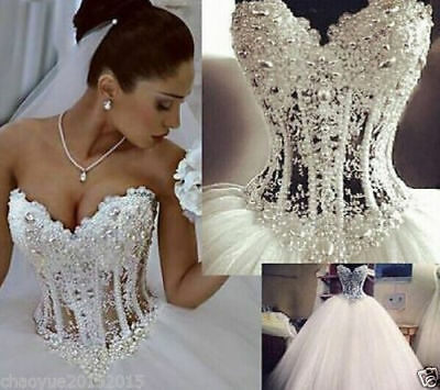 2017 New Bling Bling Gorgeous Princess Wedding Dress Bridal Ball Gown Size 6 -16