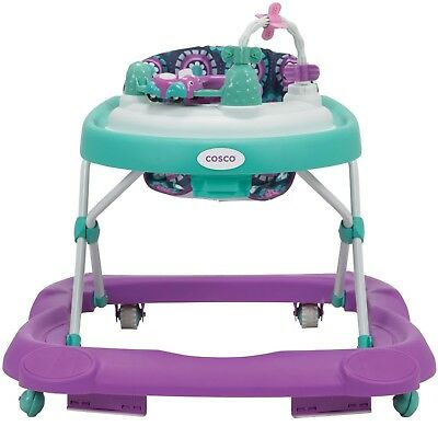 Cosco Girls' Beep Beep Walker - Midnight Garden Seat With Toys For Toddler Baby