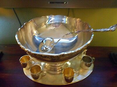 """Vintage Towle Silverplate Large Punch Set - Bowl 15"""" Wide  and 7 Cups with LADLE"""