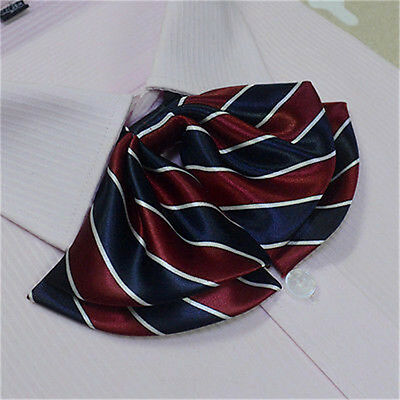 Women Ladies Red and  Blue Striped Party Banquet Adjustable Bow Tie Necktie