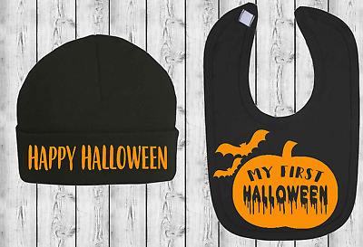 First Halloween Baby Bib and Hat Set Baby First Halloween Outfit