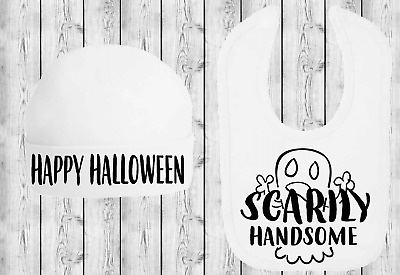 Scarily Handsome Baby Bib and Hat Set Baby First Halloween Outfit