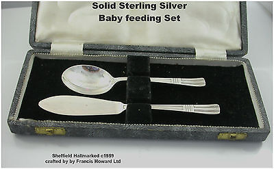 Sterling Silver Baby feeding Set Spoon & Pallet Pusher c1959 Francis Howard Ltd