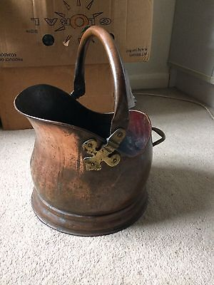 Vintage / Retro Copper Coal Scuttle Great Patena Read Description No Res
