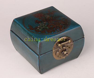 Blue Flowers Adorn Leather Box Collectable Decoration