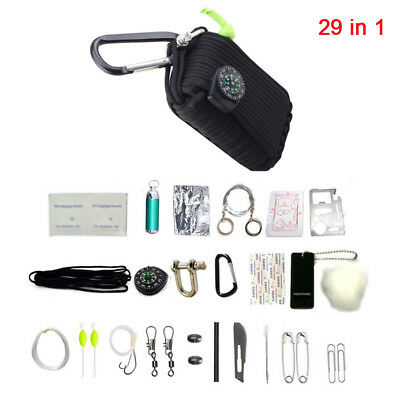 29PCS Small Outdoor Survival Kit First Aid Camping Rescue Gear Emergency Kit