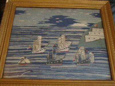 19th Century Sailor's Woolwork Picture Flotilla Of Sailing Ships Framed Folk Art