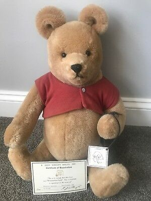 "R. John Wright Winnie The Pooh Bear Life-size 19"" EXCELLENT W/TAGS NO BOX NO RES"