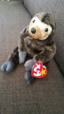 Ty Beanie Baby. Slowpoke the Sloth. Tag errors. Mint Condition