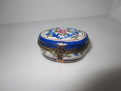 LIMOGES FRANCE Peint Main  Hinged Trinket Box