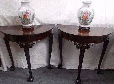 Pair Elegant Carved Regency Style Hall Demi Lune Side Tables Ball Claw Glass Top