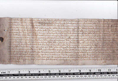 Vellum Parchment Manuscript Document Unknown County Latin Or Old English Deed