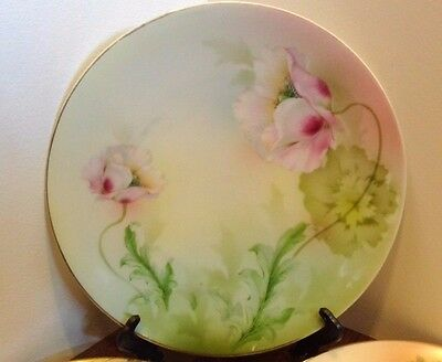 Antique R.S. Germany Art Nouveau Pink on Green Poppies Gold Plate Pastel Colors