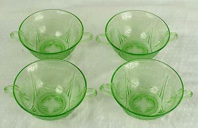 Set 4 Vintage Hazel Atlas Royal Lace Green Cream Soup Bowls (HH)