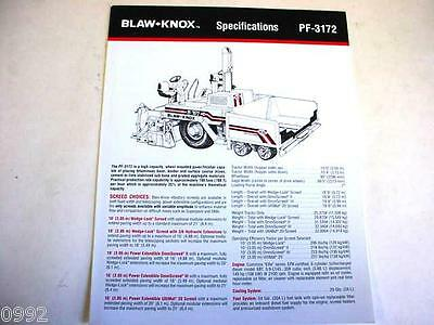 Blaw-Knox PF-3172 Paving Machine Color Brochure
