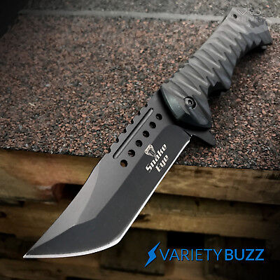 "BLACK ASSISTED OPEN POCKET KNIFE | 8.75"" Folding Tactical Spring Tanto Blade NEW"