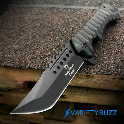 "BLACK SPRING ASSISTED OPEN POCKET KNIFE | 8.75"" Folding Tactical Tanto Blade NEW"