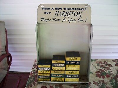 VINTAGE GM-HARRISON THERMOSTAT TIN COUNTER DISPLAY with STOCK-NICE!