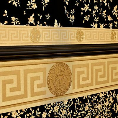 Gold Versace Wallpaper Border Luxury Greek Key Satin Modern Designer