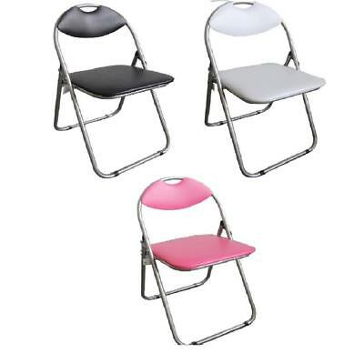 Folding Chair Leather Padded Desk PC Chair Stool Foldable Chair With Backrest