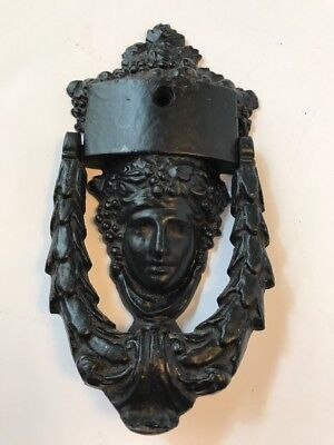Vintage Cast Iron Door Knocker Figural Head Ornate-Black