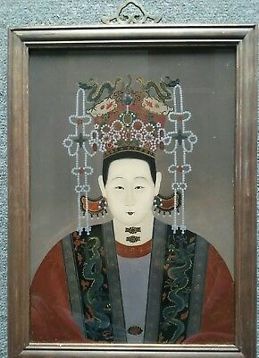 Vintage Chinese Ancestral Reverse/glass Painting Emperor/dragons