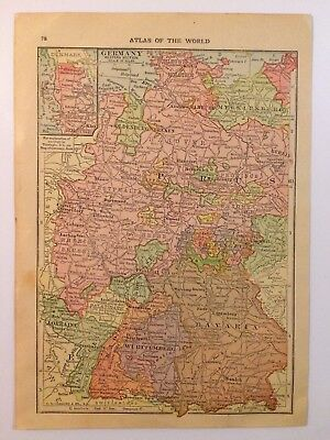Antique Map of Germany 1912 - Old Atlas Europe Map Vintage