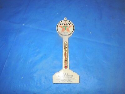 Texaco Sign Pole Plastic Advertising Thermometer! Art's Texaco Indianapolis Ind.