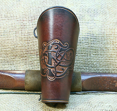 Bow Cuff Leather Brown Urnes - Style Dragon Embossing Cowhide Bracers