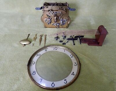 For Spares or Repair Brass Clock Movement, 5 Bar Gong & Associated Accessories.