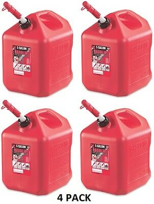 4 New Midwest Can Company 5 Gallon Red Poly Gas Can Model 5600 Spill Proof Spout
