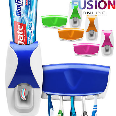 Automatic Toothpaste Dispenser & 5 Toothbrush Holder Stand Wall Mounted Bathroom