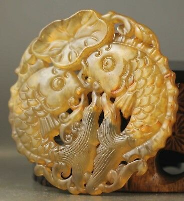 Old Chinese natural jade hand-carved double fish pendant NO.A349