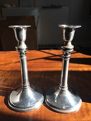 Pair of Antique solid silver candlesticks hallmarked Charles Edwards London 1917