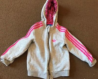 Adidas Pink And Grey Girls Tracksuit Size 18-24 Months