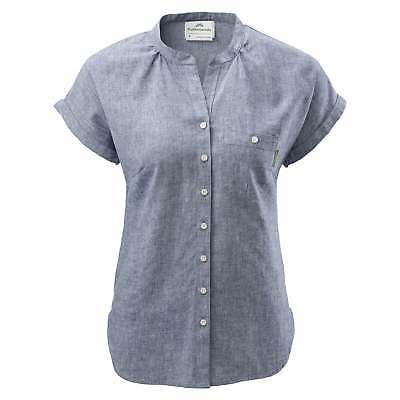Kathmandu Expedite Womens Hemp Organic Cotton Blend Short Sleeve Shirt v2 Blue