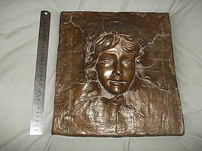 Bronze Wall Plaque - Art Noveau Style Lady Woman's Face
