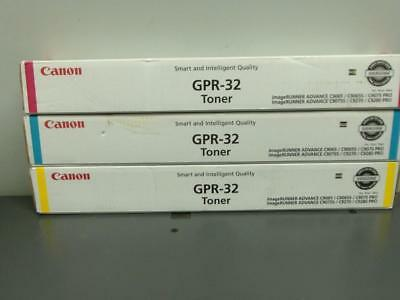 3 New Genuine CANON GPR-32 Color Toners Cyan Magenta & Yellow