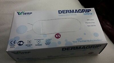 Dermagrip Examination Gloves Ultra extra small  100 Gloves WRP NEW BOXED