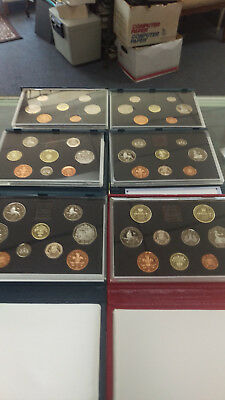 Six (6) British Proof Sets From The U.k.....1988, 1989, 1990, 1991, 1992, 1994
