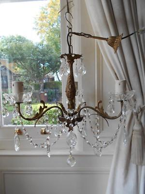 French Vintage Bronze Rococo Crystal 3Lt Chandelier *1 Of 2*